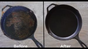 """How to Clean and Re-season a Rusty Cast Iron Pan is about cleaning to maintain the non-stick coating, known as the """"seasoning,"""" and also to prevent rusting of cast iron pans."""