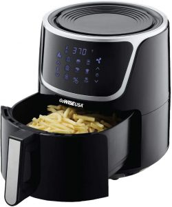 Electric Air Fryer, 7-Quart Using a large basket, you can manage multiple batches at once. Bulky and large We use the GoWISE USA 7-Qt. Air Fryer is the most for cooking in large amounts because it's the most convenient. We kept going back to nosh on the air-fried crispy fries and delicious wings in our tests. Its air fryer basket is oblong in shape, allowing for more frying in a single layer than round baskets and a significant benefit when dehydrating. This GoWise air fryer is different from others on the market since it comes with three additional stackable racks. The racks stack, allowing you to dehydrate and air fries up to four levels at once.